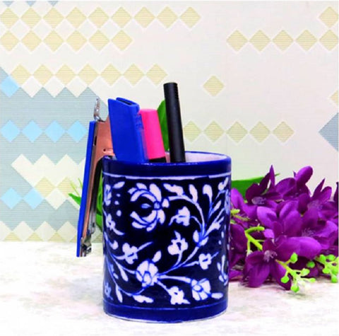 Blue Pottery Pen Stand