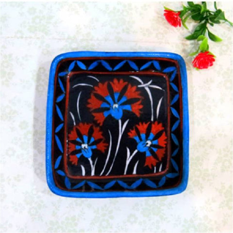 Blue Pottery Tray Square Black
