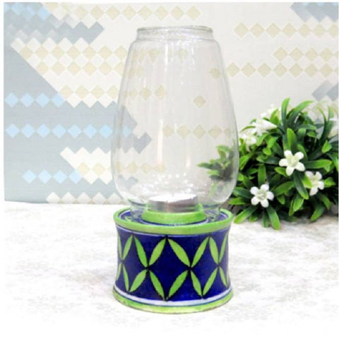 Blue Pottery TeaLight Holder Lantern
