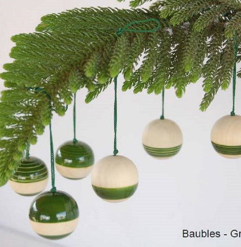 Handcrafted Wooden Christmas Decor : Baubles - Green (Set Of Six)