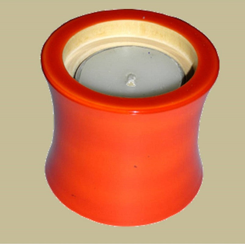 Wood Candle Holder Orange