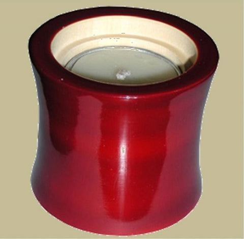 Wood Candle Holder Red