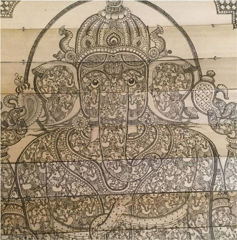 108 Ganesha In Ganesha Nritya- Palm Pattachitra