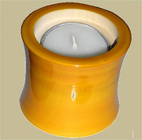 Wood Candle Holder Yellow