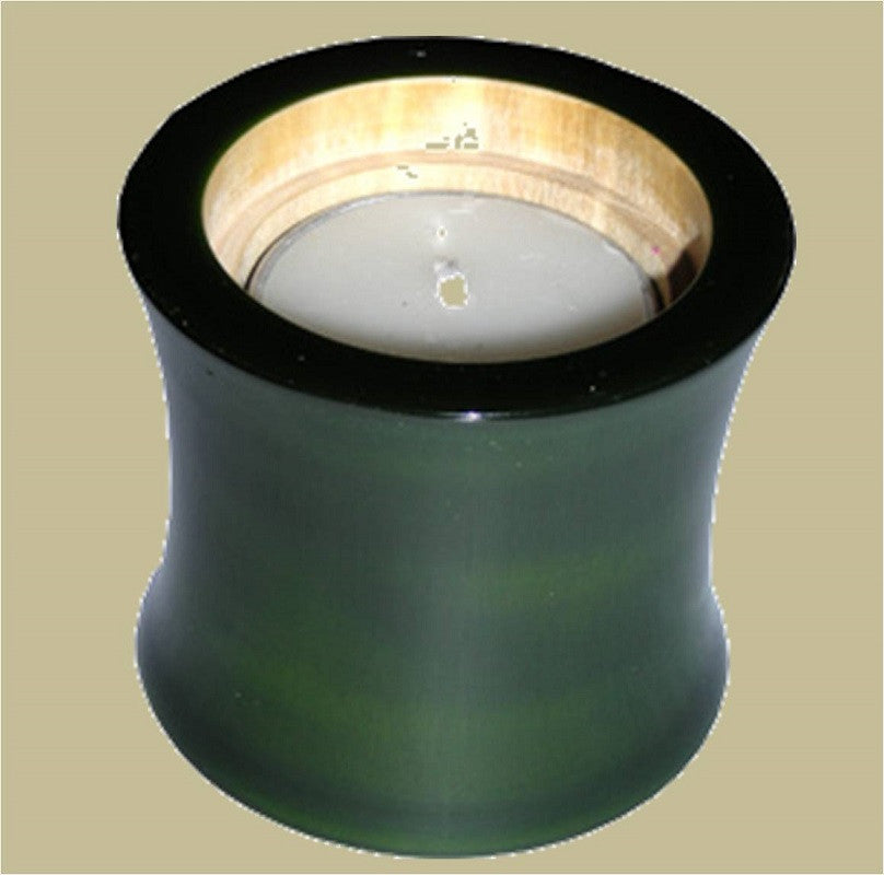 Wood Candle Holder Green