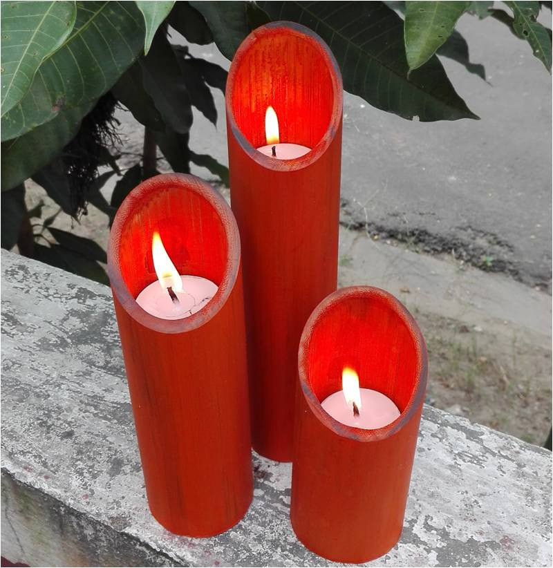 Multicolor Pillar T-light Holder Set of 3