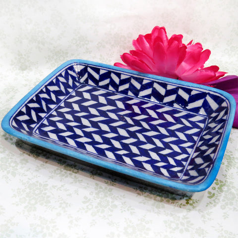Blue Pottery Tray - Zigzag