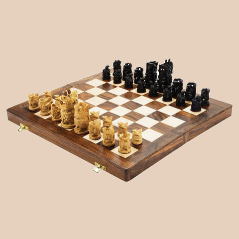 Indian Maharaja Chess Pieces- Carved