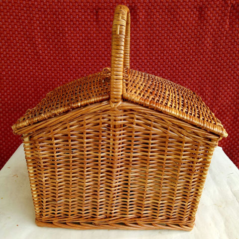 Rich Honey Colored Wicker Rattan Picnic Basket