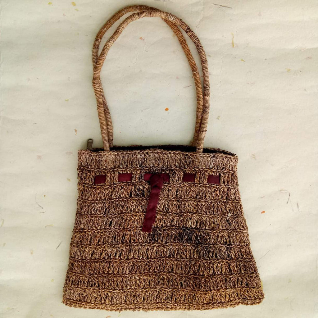 Banana Fibre V Crochet Bag With Knot