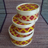 Round Flower Box Set of 3 Red & Yellow