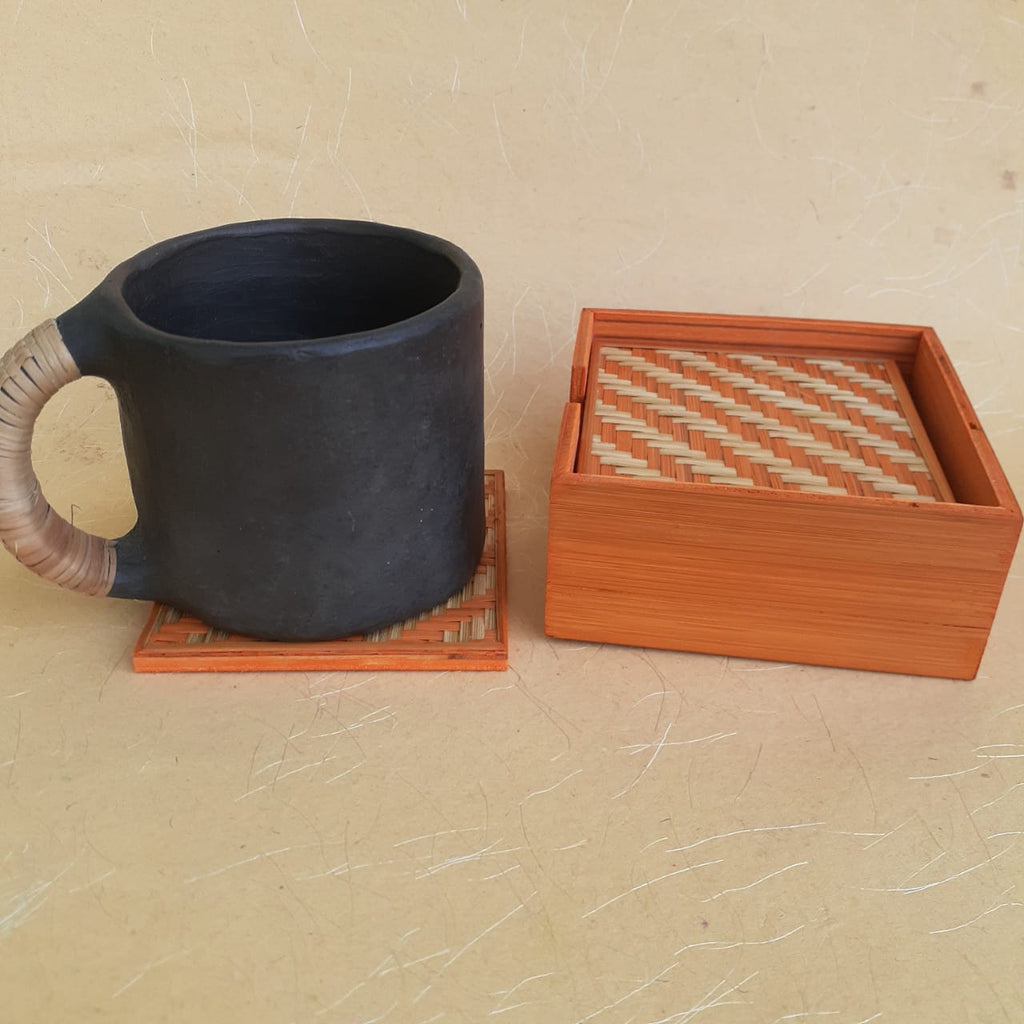 Square Bamboo Coaster Set Orange