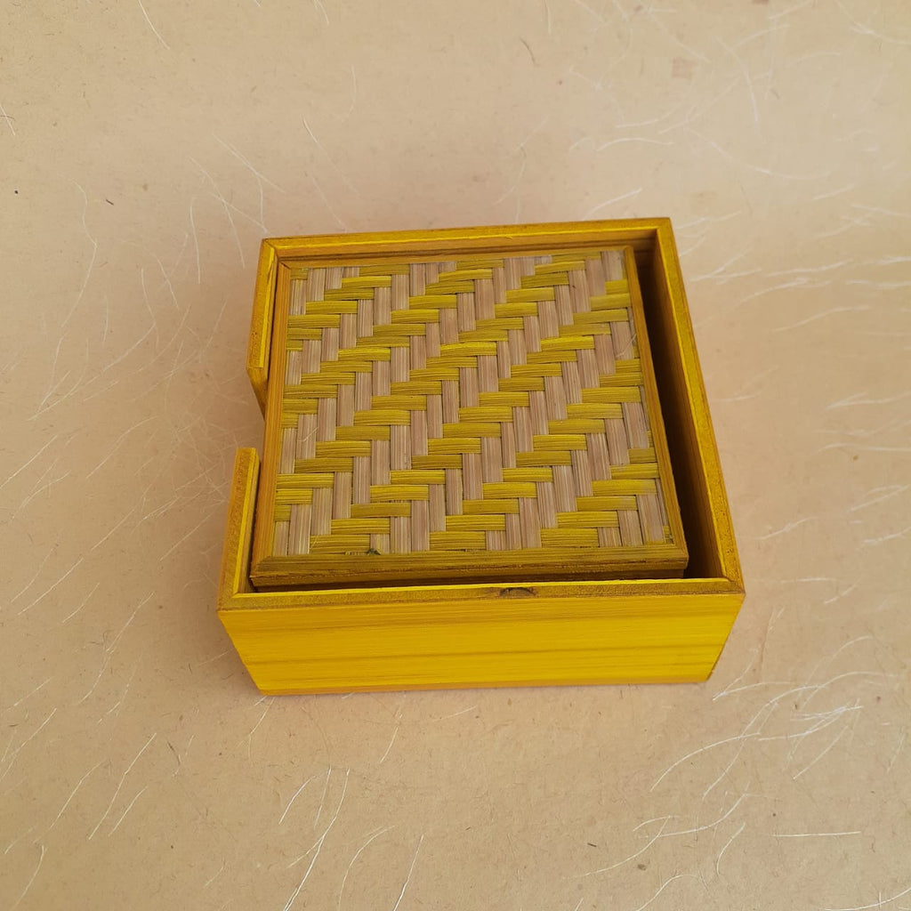 Square Bamboo Coaster Set Yellow