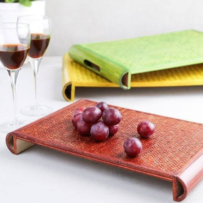 Bamboo Twin Tray Small- Brown