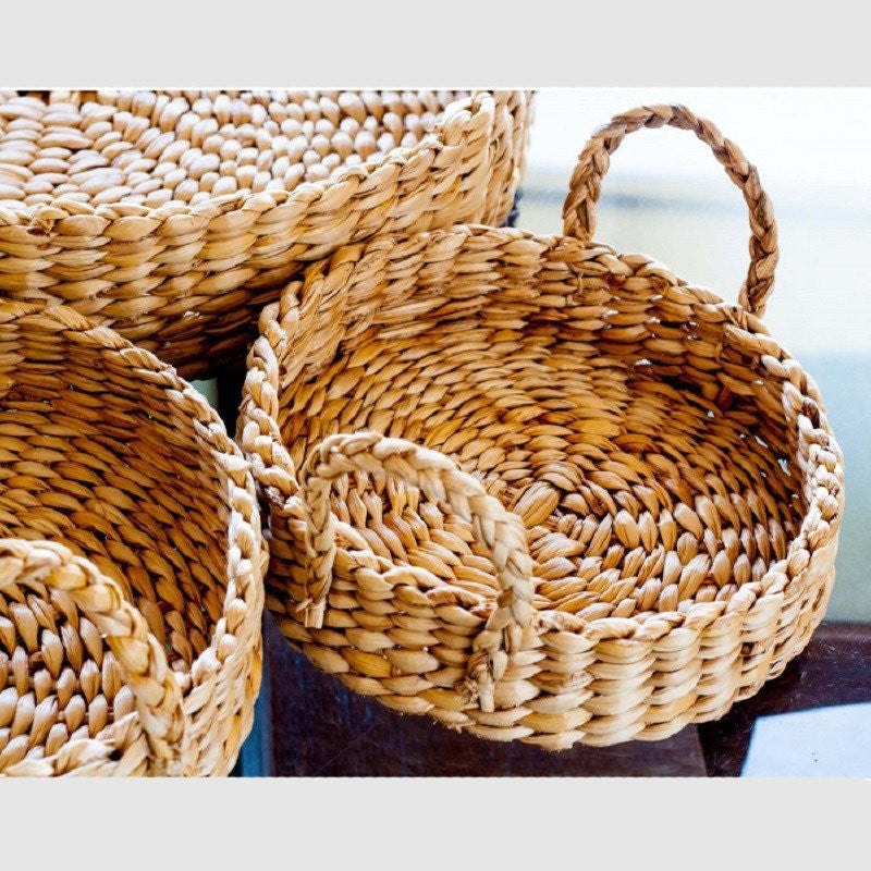 Banana Fiber Round Tray With Braided Handles Small