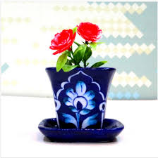 Dark Blue Mini Planter Floral