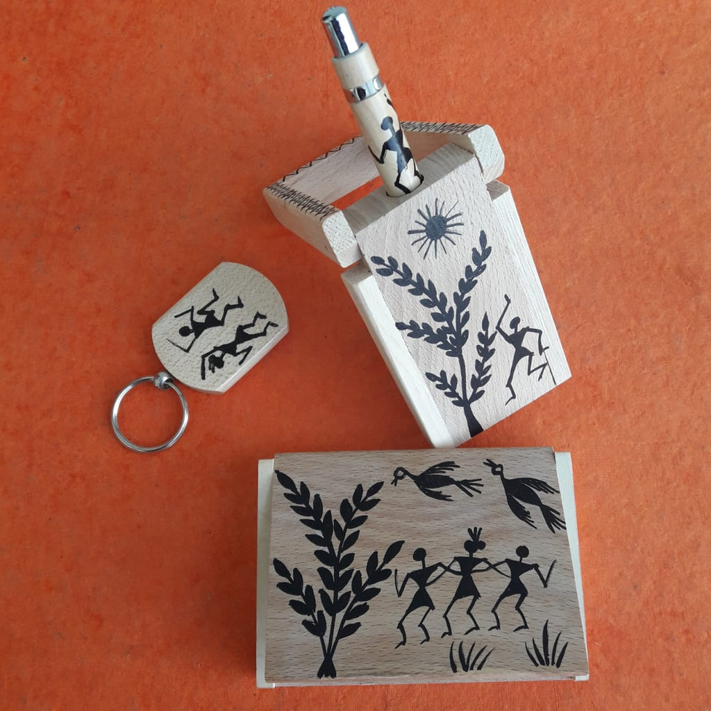 Hand Painted Wooden Premium Desk Stationery Set