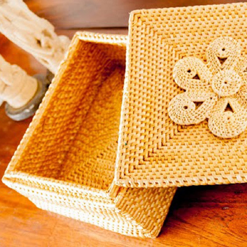 Square Box with Flower Motif