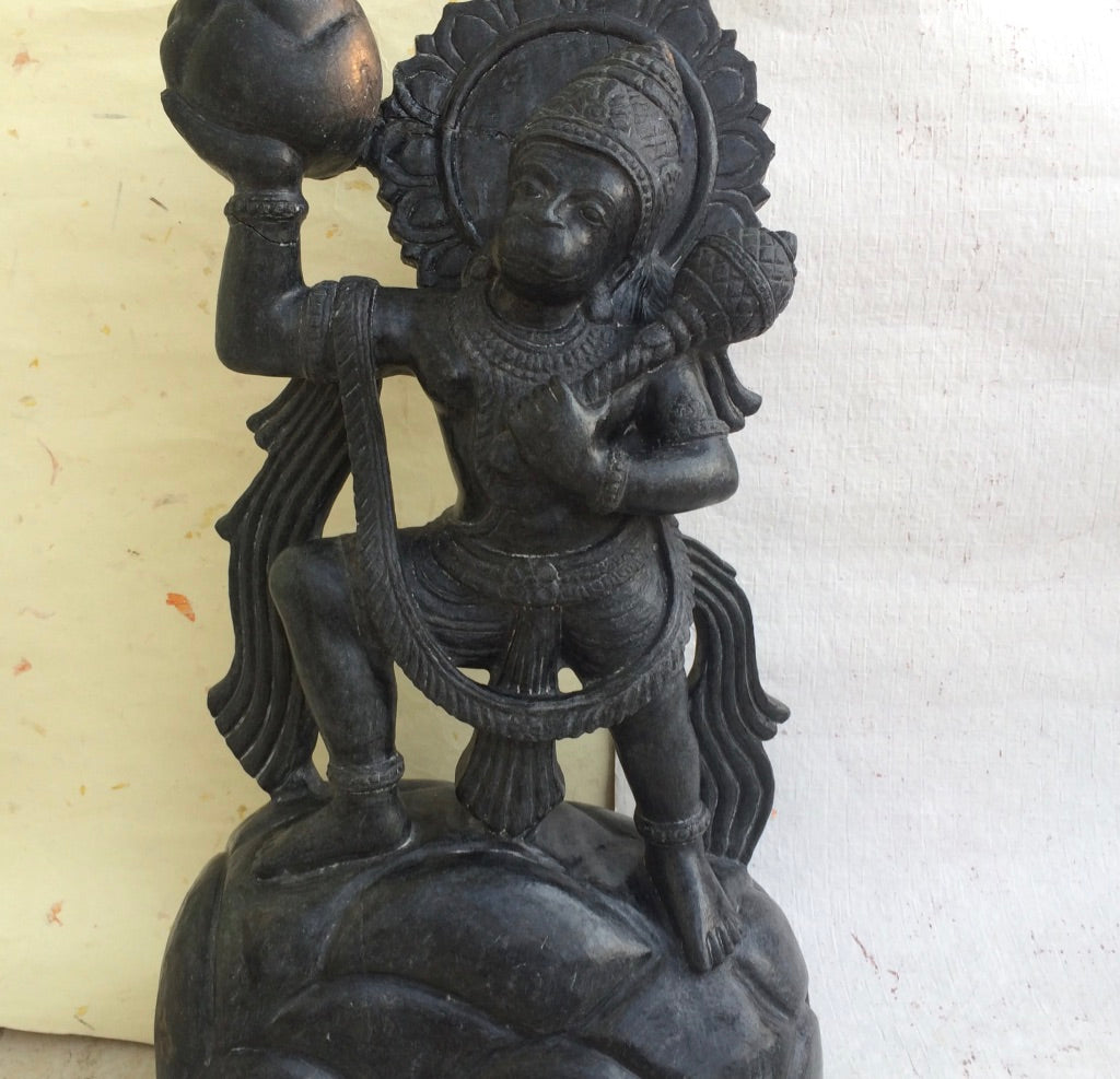 Hanuman Carrying Mountain - Stone Sculpture