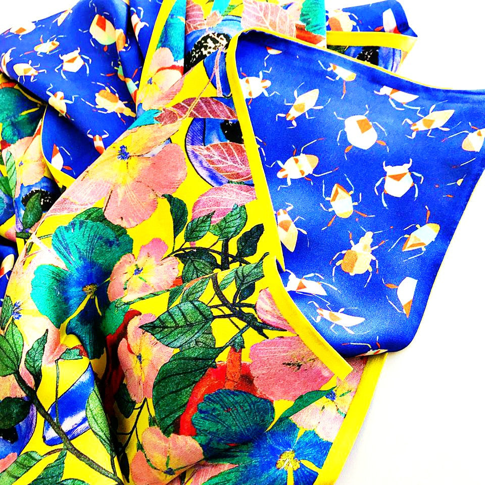 Last Pieces. Blue Bugs/ Tropical Floral - RECTANGULAR SILK SCARF