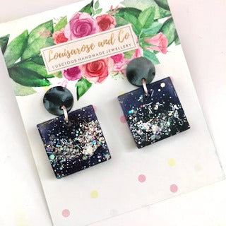 NEW Black Resin Glitter Squares