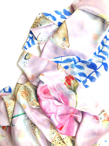 SILK SCARF- ROSE TROUT/ BLUE LEAVES