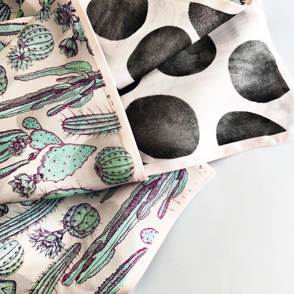 CACTUS / DOTS - DOUBLE SIDED 100% SILK SCARF