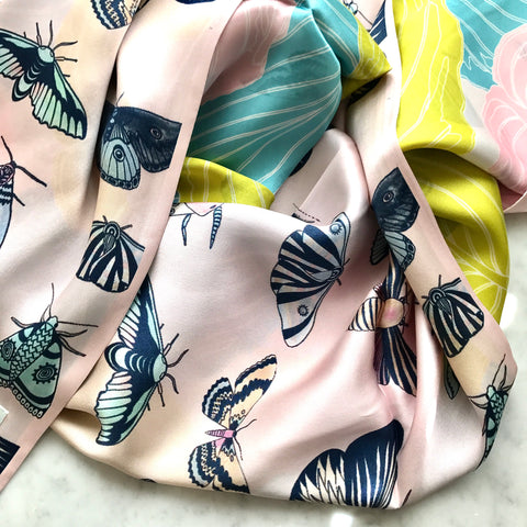 Pink Moth/ Foliage - RECTANGULAR SILK SCARF