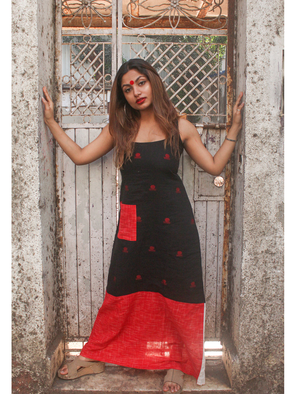 Black Straight Cut Racerback Maxi Dress With Bindi Motifs