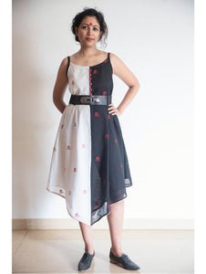Black and White Asymmetric Bindi Dress
