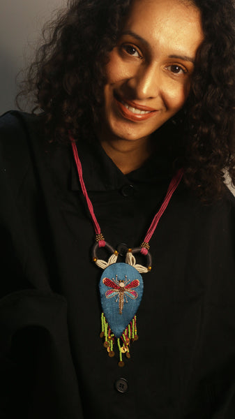 Hand Embroidered textile necklace - Blue