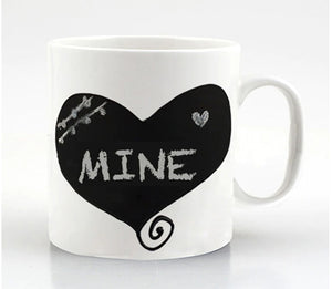 Coffee Conversation Chalkboard- Heart Ceramic Coffee Mug