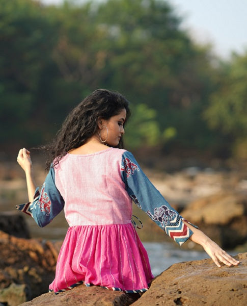 Pink and Indigo Angrakha top