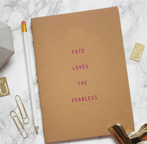 Fate Loves The Fearless Kraft Notebook