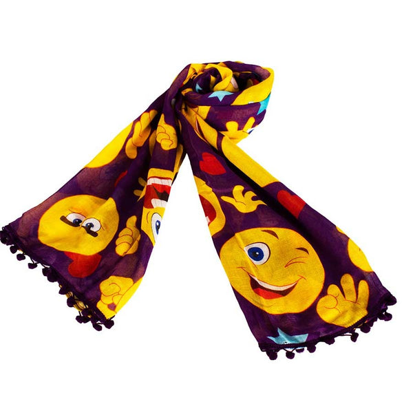 Flaunt the Emoticons Purple Scarf