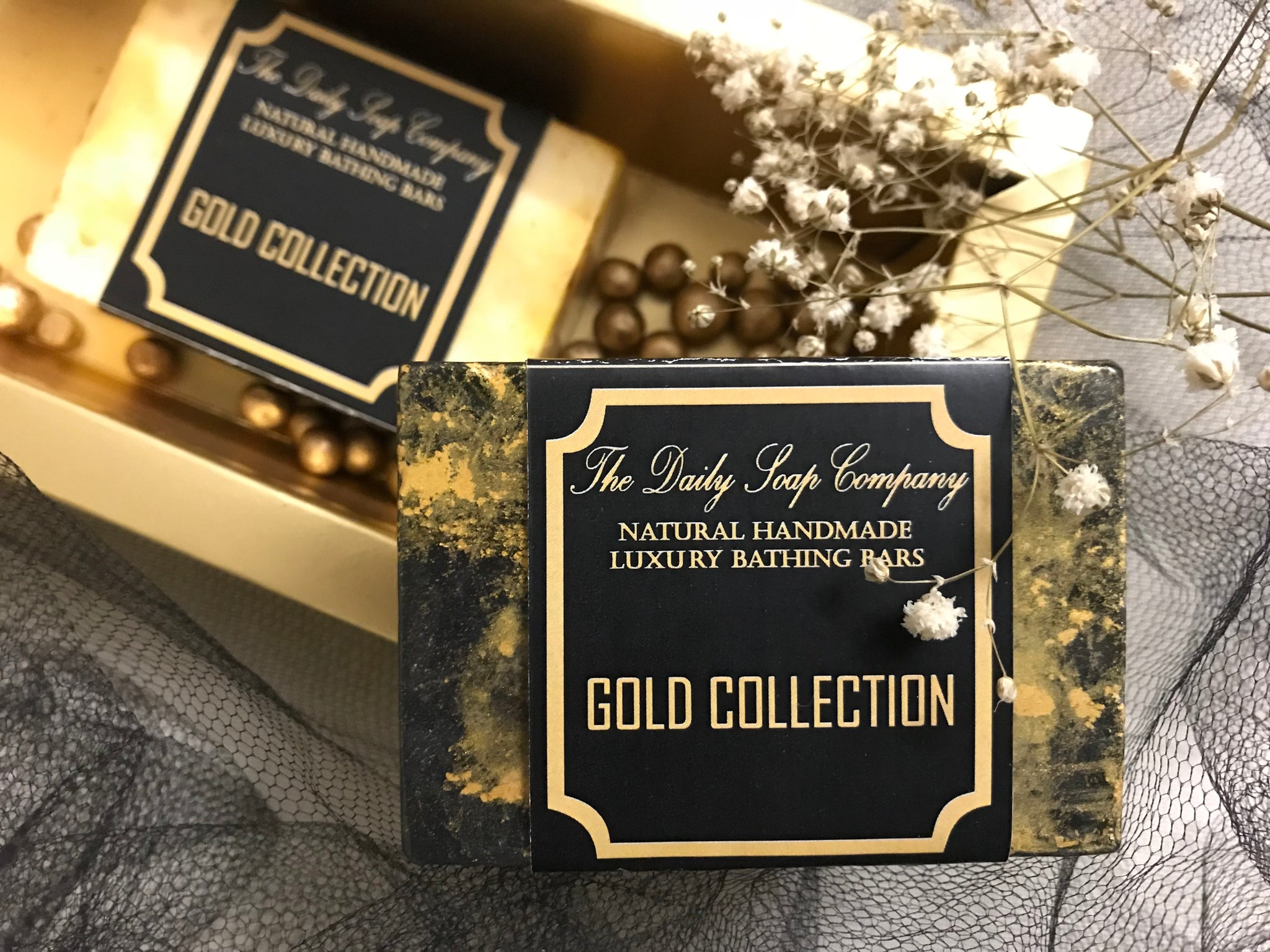 Activated Charcoal and Gold Dust Handmade Soap - The Gold Collection