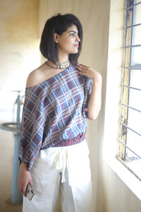 Indigo uneven checkered crop top