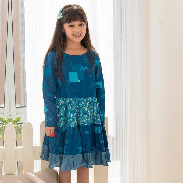 Inky Smudge Tiered Dress