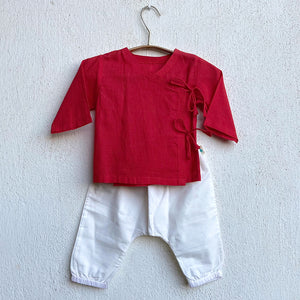 KIDS UNISEX ORGANIC RED ANGRAKHA + WHITE PANTS