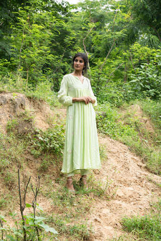 Pastel Green Gathers Kurta