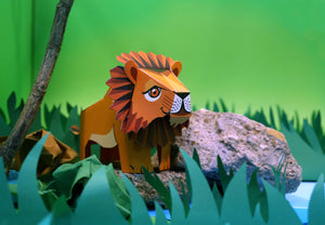 Mini Lion Educational DIY Paper Craft Kit: Endangered Wildlife Series