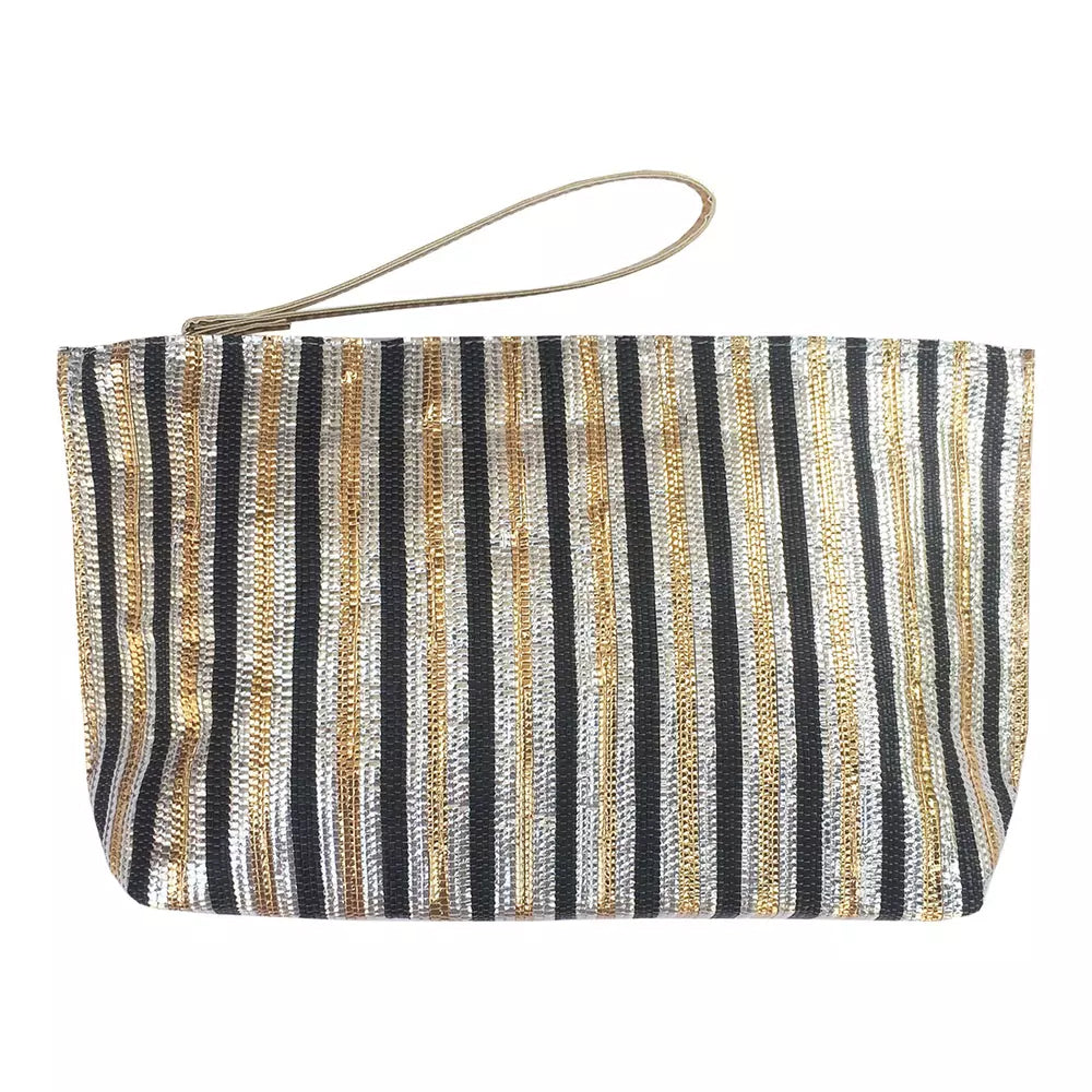 Metallic Recycle Clutch-Black Silver Gold