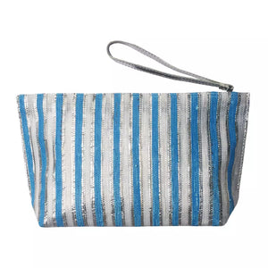 Metallic Recycle Clutch-Blue White Silver