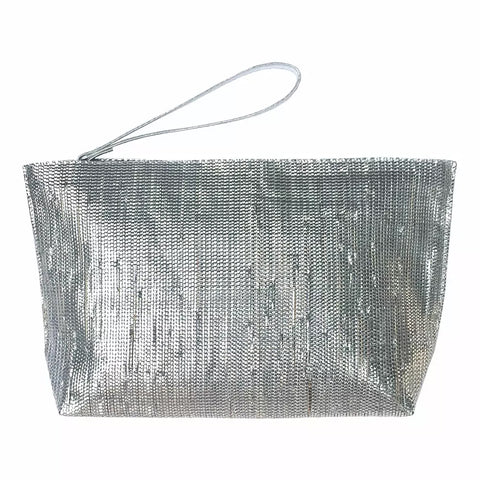 Metallic Recycle Clutch-Silver