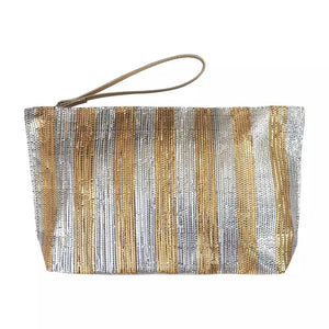 Metallic Recycle Clutch-Silver Gold Stripe
