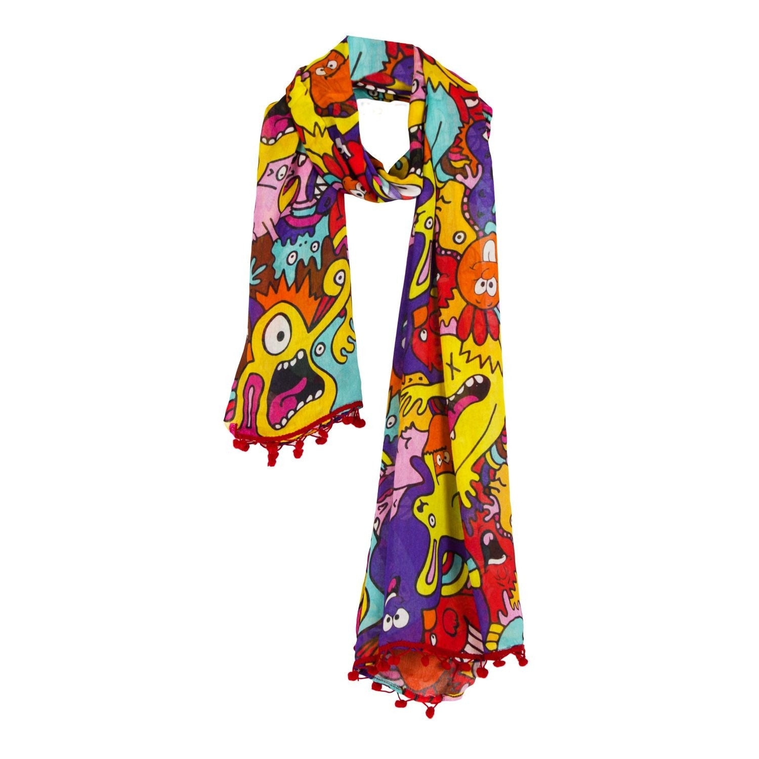 Mr Doodle Colorful Monsters Scarf