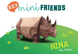 Mini Rhino Educational DIY Paper Craft Kit: Endangered Wildlife Series
