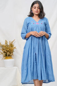 Neera Embroidered Gather Dress