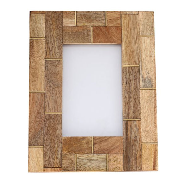 Photo Frame Wood Brass Inlay