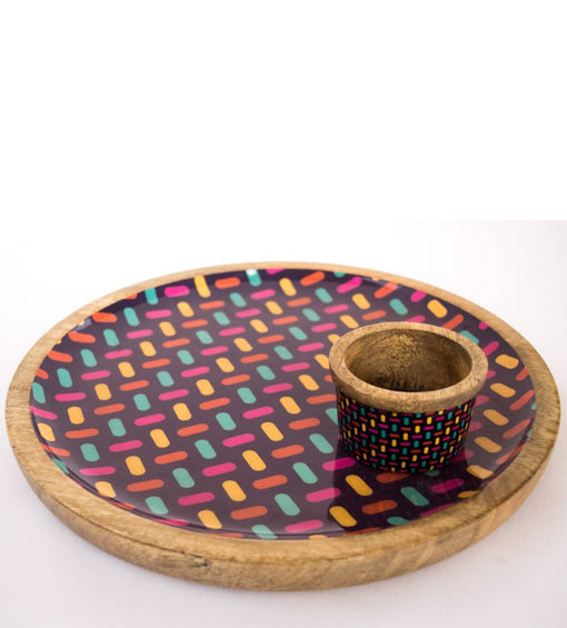 Platter + Small Dipping Bowl Wooden Purple